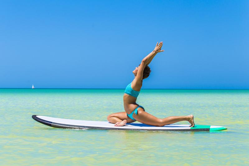 Practising yoga on holidays